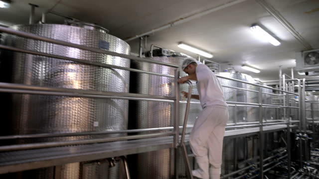 Worker in the food factory.Dairy products