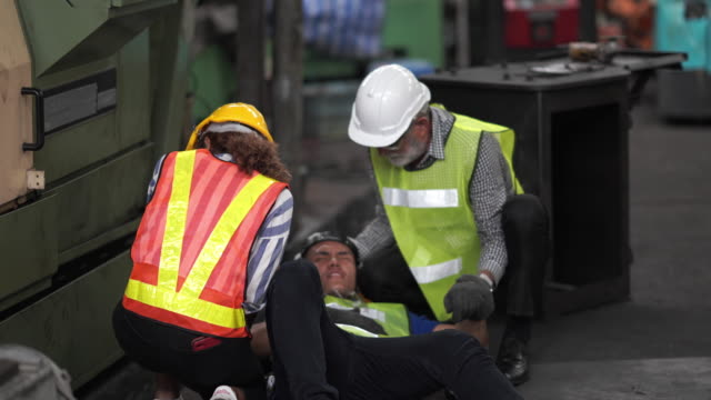 worker incident during working with milling machine in factory - danger stock videos & royalty-free footage