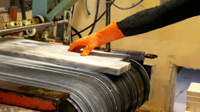 worker is holding marble in production line in marble factory - production line worker stock videos & royalty-free footage