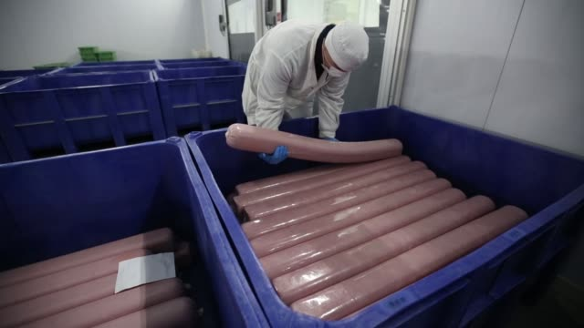 a worker loads a container with packets of processed pork ham at the slaughterhouse operated by avk exima zao in galaktionovsky village near orel... - packet stock videos & royalty-free footage