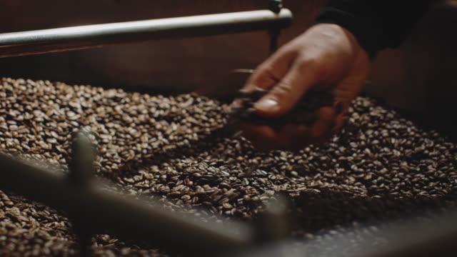 stockvideo's en b-roll-footage met werknemer gebrande koffiebonen met de hand mengen - koffie drank
