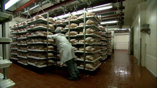 a worker moves racks of frozen pork in a storage area. - haarnetz stock-videos und b-roll-filmmaterial