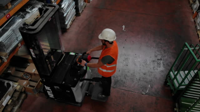 worker on forklift - health and safety stock videos & royalty-free footage
