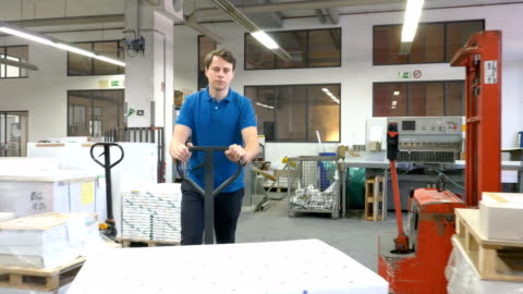worker pushing packages on pallet jack at industry - packaging stock videos & royalty-free footage
