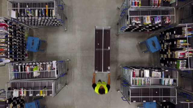 Worker pushing trolley on aisle in logistic center
