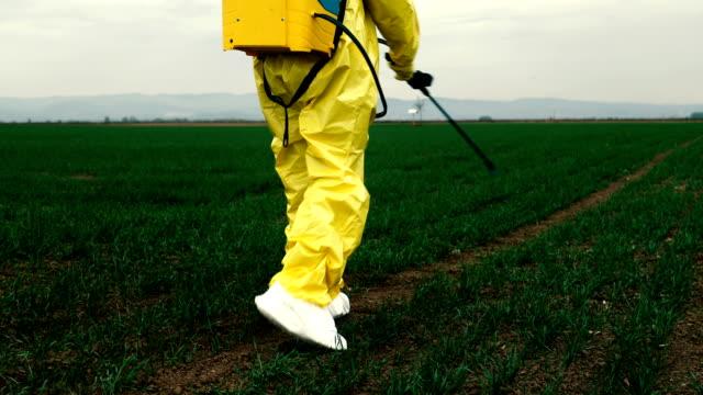 vídeos de stock e filmes b-roll de worker spraying toxic pesticides - inseticida