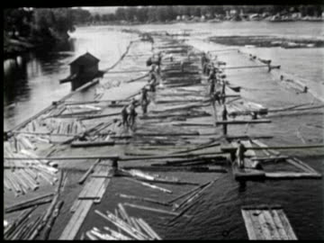 b/w pan worker using water for moving timber for cutting, ottawa, canada / audio - timber yard stock videos & royalty-free footage