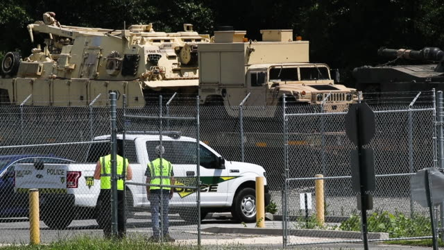 worker washes one of two m1a1 abrams tanks that are loaded on flatbed rail cars at a csx railyard on july 2, 2019 in washington, dc. president trump... - fourth of july stock videos & royalty-free footage