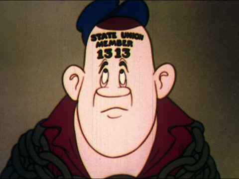 vídeos y material grabado en eventos de stock de 1948 animation worker with stamp on forehead identifying him as member of union / frowning / spinning - big brother