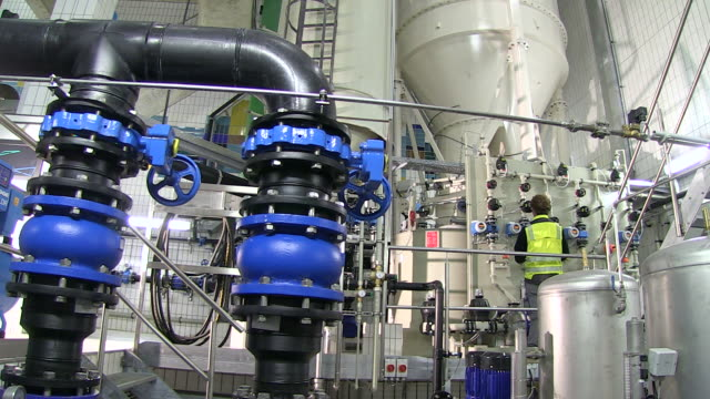 MS PAN Worker working in decalcifying plant at water works / Konz, Rhineland-Palatinate, Germany