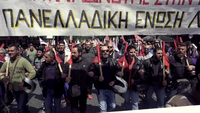 workers across greece have begun a threeday strike in protest against new tax increases and pension cuts that are being proposed by syriza government... - 2010 video stock e b–roll
