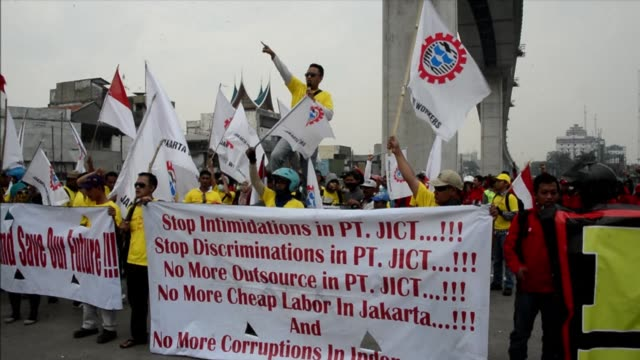 workers across indonesia begin a two day strike to demand higher salaries the latest industrial action in southeast asias top economy clean :... - strike industrial action stock videos & royalty-free footage