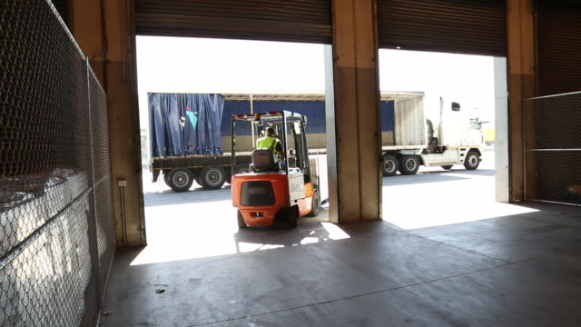 workers and machinery in a large food distribution warehouse - entladen stock-videos und b-roll-filmmaterial