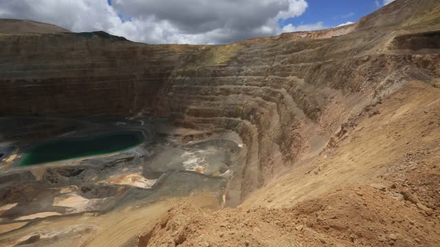 workers and machines move through the yanacocha gold mine located in northern peru on october 26th 2015 shots general views of pit containing... - groundwater stock videos and b-roll footage