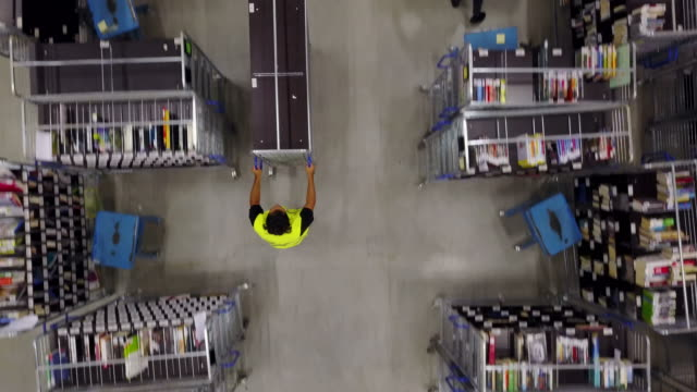 workers and supervisors working in warehouse - mensola per libri video stock e b–roll