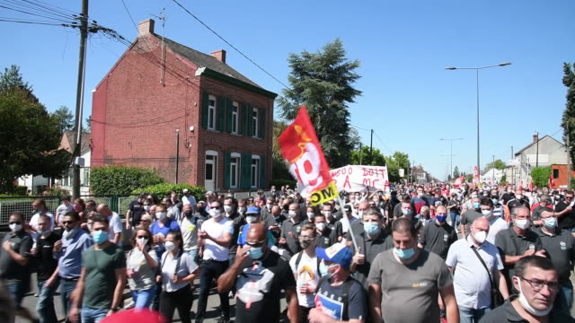 workers and union members protest outside the renault sa auto plant in maubeuge france on saturday may 30 2020 renault sa said it will eliminate... - unemployment stock videos & royalty-free footage