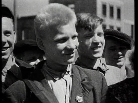 Workers arriving during rebuilding of industrial centres and automobile factories after WWII/ Minsk Belarus/ AUDIO