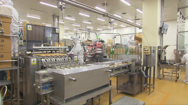 workers at an ice cream manufacturing factory - frozen food stock videos & royalty-free footage