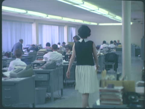 ms workers at desks in large office space / united states - sleeveless top stock videos & royalty-free footage