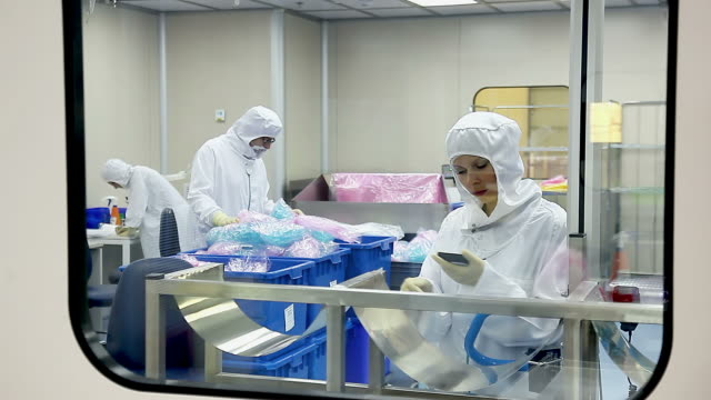 Workers at medical equipment factory