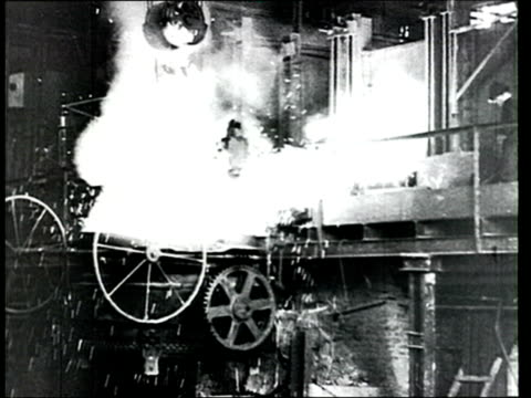 1914 montage b/w workers at metal factory furnace in the historical region of izhora, in the eastern baltic/ russia - russia stock videos & royalty-free footage