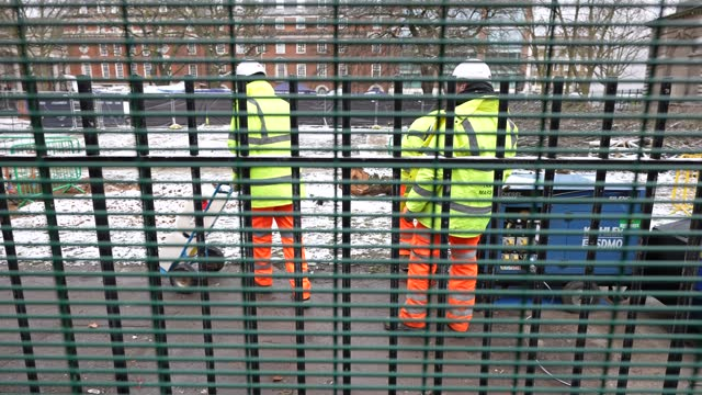 workers at the hs2 protest site at euston square fill generators with red diesel on february 8, 2021 in london, england. the high-speed rail project... - generator stock videos & royalty-free footage