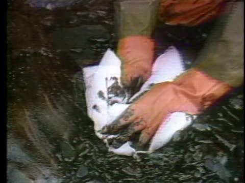 vídeos y material grabado en eventos de stock de workers attempt to clean up oil spilled by the exxon valdez at prince william sound, alaska. - derramar actividad