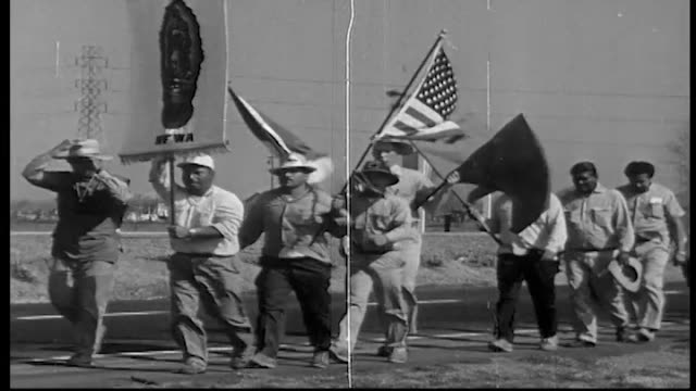 workers begin marching on march 17 1966 from delano protesting for better wages and treatment and recognition of their union the united farm workers... - lavoratore emigrante video stock e b–roll