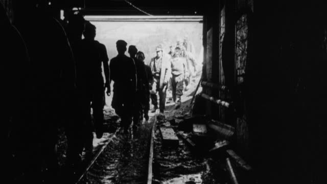 1949 montage workers building water tunnel through mountain of solid rock / perthshire, scotland, united kingdom - perthshire stock videos & royalty-free footage