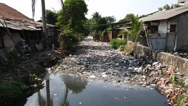 workers collect trash during a clean-up on the bahagia river called also ''river bahagia'' in bekasi, indonesia thursday, august 1, 2019. - プラスチック汚染点の映像素材/bロール