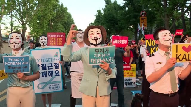Workers for Korean Air and Asiana airlines take part in a joint protest in Seoul South Korea