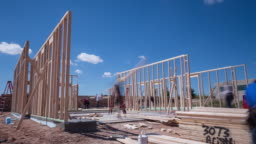 Workers Framing a New Home Construction Time-lapse