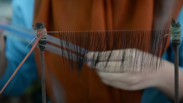 workers handle hair fibers to make false eyelashes at the pt bio takara eyelash and wig factory in purwokerto, central java, indonesia, on wednesday,... - eyelash stock videos & royalty-free footage