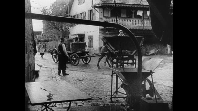 montage workers harvesting grapes and pouring them into larger container from buckets, farmer moving produce with horse-drawn cart, and families working in vineyard / strasbourg, france - maginot linie stock-videos und b-roll-filmmaterial