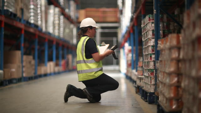 workers in a large food distribution warehouse - delivering stock videos & royalty-free footage