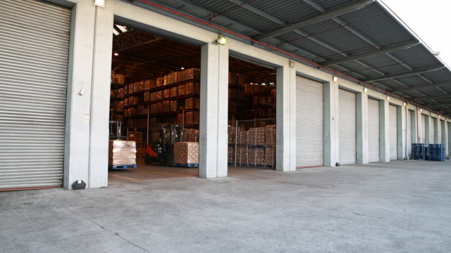 workers in a large food distribution warehouse - distribution warehouse stock-videos und b-roll-filmmaterial