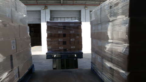 workers in a large food distribution warehouse - articulated lorry stock videos & royalty-free footage