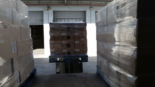 workers in a large food distribution warehouse - beladen stock-videos und b-roll-filmmaterial