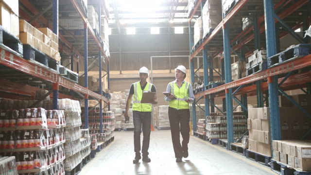 workers in a large food distribution warehouse - deposito video stock e b–roll