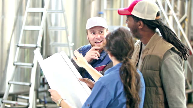 Workers in a micro brewery, discussing plans