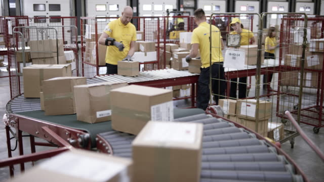 ld workers in a warehouse putting packages on the conveyor belt - occupazione industriale video stock e b–roll