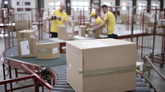 ld r/f workers in a warehouse putting packages on the conveyor belt - belt stock videos and b-roll footage