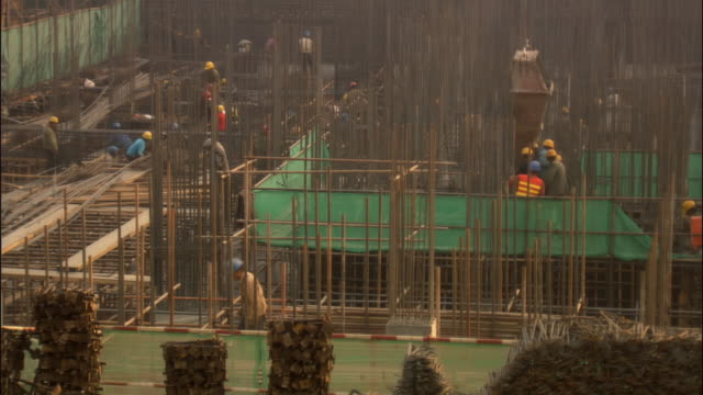 MS, HA, Workers in construction site, Beijing, China