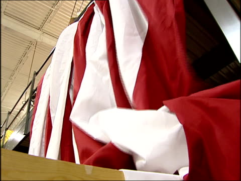 wgn workers inside flag factory flagsource sew and package american flags in batavia illinois - stars and stripes stock videos & royalty-free footage