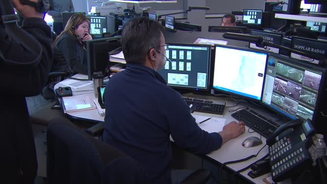 Workers inside the Snow Command Center at the Chicago Office of Emergency Management on Feb 26 2015
