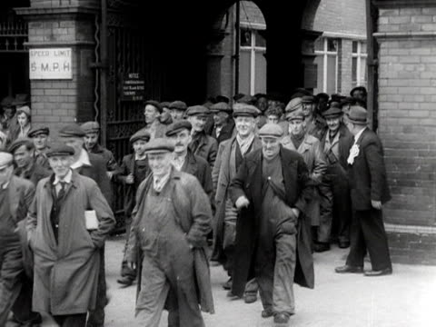 workers leave a factory in sunderland. 1953. - manufacturing occupation stock videos & royalty-free footage