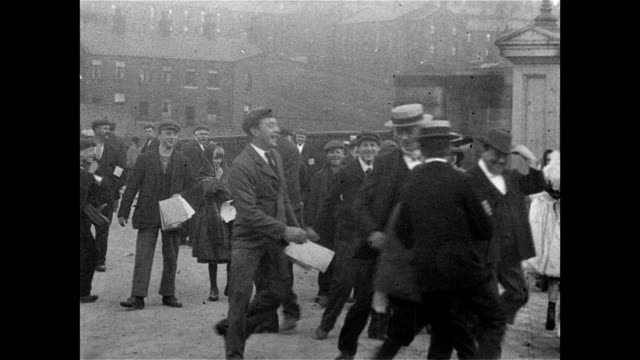 1900 workers leave haslam's cotton mill in colne - edwardian style stock videos & royalty-free footage