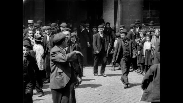 1901 workers leaving berry's blacking works - manchester england stock videos & royalty-free footage