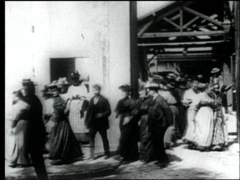 workers leaving the lumiere photographics factory in lyon, filmed by louis lumiere in 1895. - 19th century stock videos & royalty-free footage