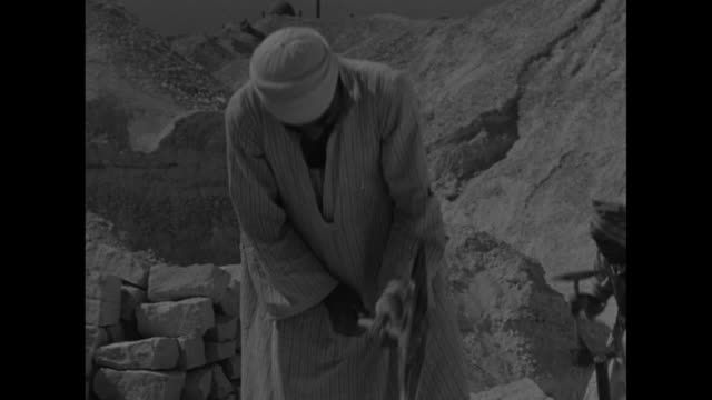 VS workers load camels' backs with large blocks of stone at excavation site / Note exact day not known